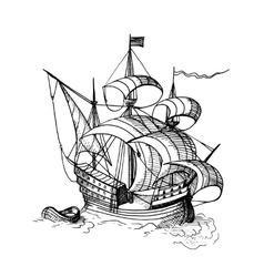 sailing ship with boat vector image