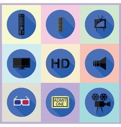 set of media icon vector image