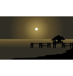 Silhouette of hut and pier vector image vector image