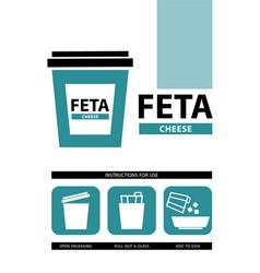 Cheese feta icons vector