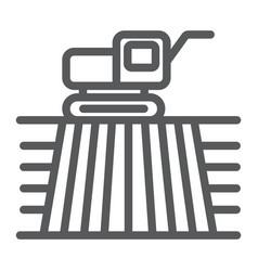 combine harvester on field line icon farming vector image