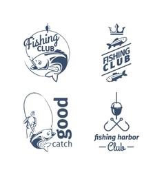 Fishing club emblems vector