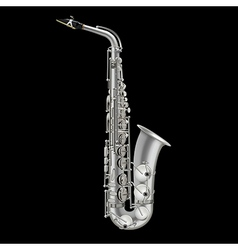 photorealistic saxophone isolated on a black vector image vector image