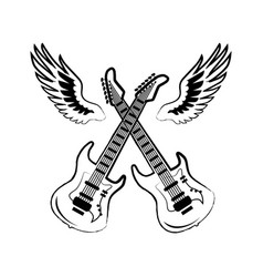 rock electric guitars wings vector image vector image