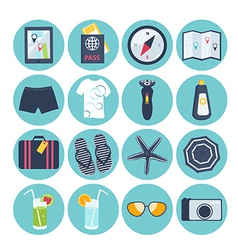 Set of summer vacation icons vector image vector image
