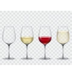Set transparent wine glasses vector image vector image