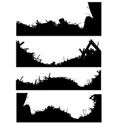 silhouette set of a demolition site industrial sky vector image