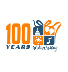 100 years gift box ribbon anniver vector image