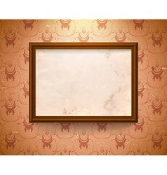Aged frame on the wall vector image