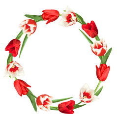 decorative element with red and white tulips vector image