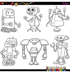 fantasy robots cartoons coloring page vector image vector image