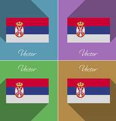 Flags Serbia Set of colors flat design and long vector image vector image
