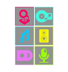 Neon colored flat design music icons vector image