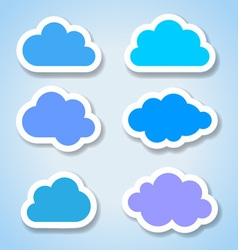 Set of 6 paper colorful clouds vector image vector image