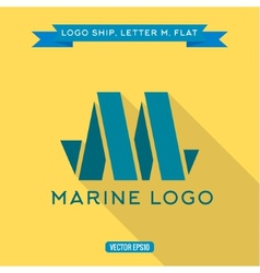 Abstract logo ship in the form of letter M vector image