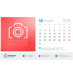 december 2018 desk calendar design template with vector image