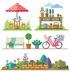Garden landscapes summer and spring vector image