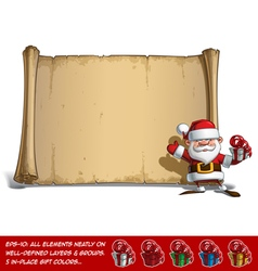 Happy Santa Scroll Salute with a Gifts vector image