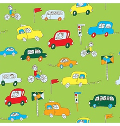 Kid in the car seamless pattern vector image vector image
