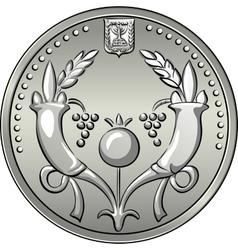 Obverse Israeli silver money two shekel coin vector image vector image