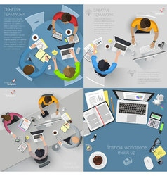 Top view flat design creative office vector image
