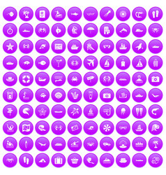 100 sea life icons set purple vector