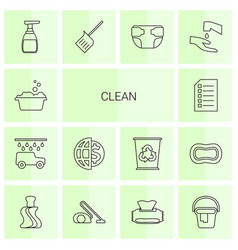14 clean icons vector image