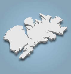 3d isometric map kodiak is an island in alaska vector