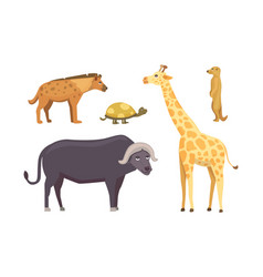African animals cartoon set elephant vector