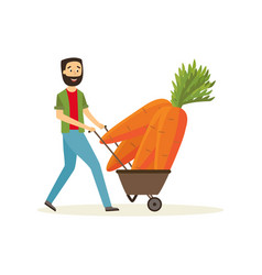 agricultural harvest concept with happy farmer vector image