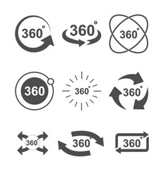 angle 360 degrees sign icon set design vector image