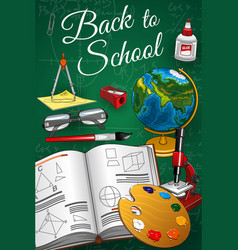 Back to school geometry geography art lesson item vector