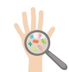 Bacteria and virus cells on human palm vector image