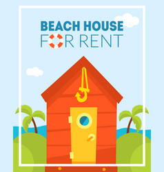 beach house for rent banner template tropical vector image