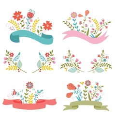 Beautiful floral banners vector image