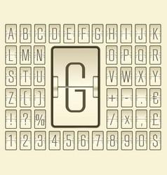 Beige terminal mechanical scoreboard font with vector