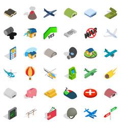 Big war icons set isometric style vector