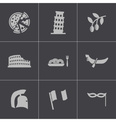 black italian icons set vector image