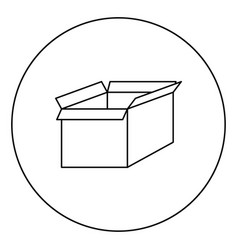 box the black color icon in circle or round vector image