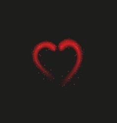 bright neon heart heart sign on dark transparent vector image