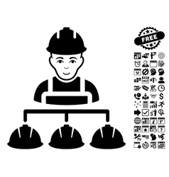 Builder Management Flat Icon With Bonus vector image