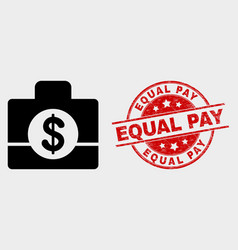 business case icon and grunge equal pay vector image