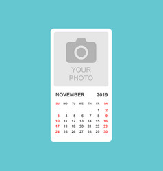 calendar november 2019 year in simple style vector image