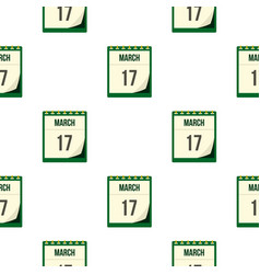 Calendar with st patrick day pattern seamless vector