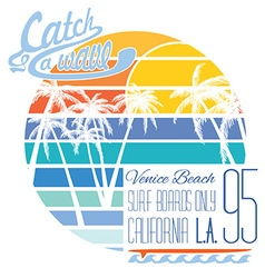 California Venice beach typography t-shirt vector image