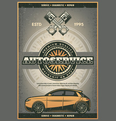 Car tires and engine auto service poster vector