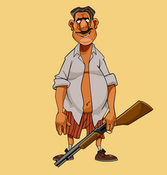 cartoon man in shirt and briefs with a gun in his vector image