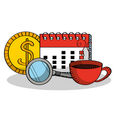 cartoon money magnifier calendar and coffee cup vector image