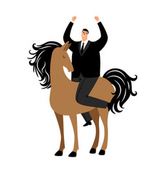 cartoon successful businessman riding a horse vector image