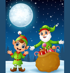 Christmas old elf with cartoon elf kid present a s vector